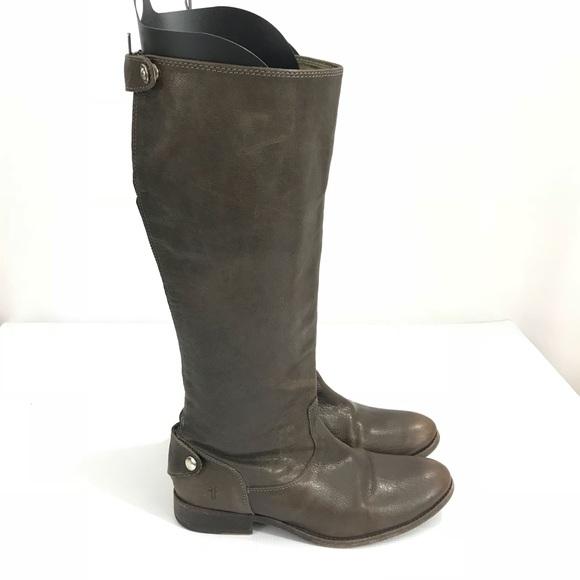 512c3b6e52d8 Frye Shoes - Frye Melissa Button Back Zip Brown Knee High Boots